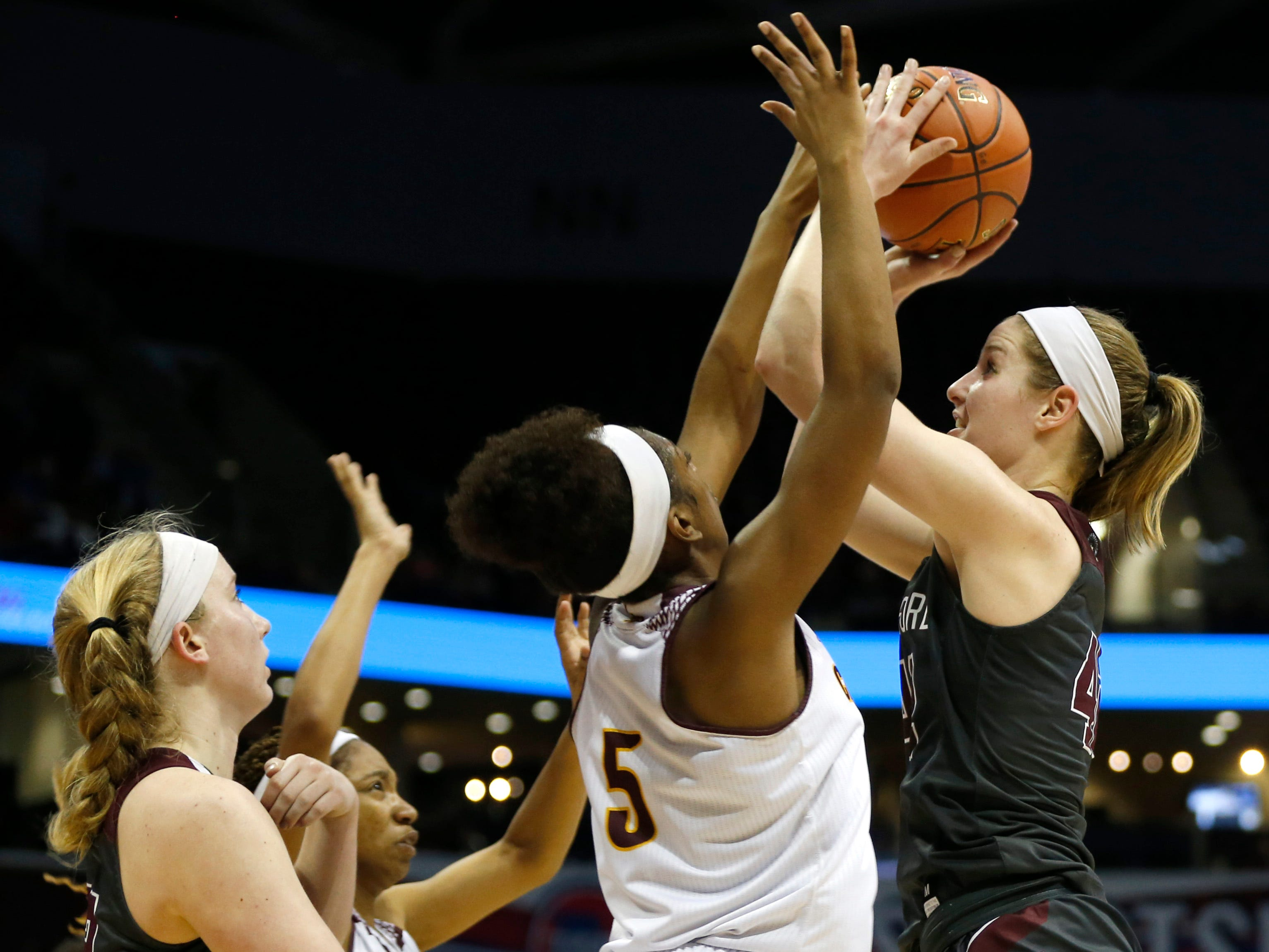 The Strafford Lady Indians take on the Lutheran North Crusaders in the Class 3 state championship game at JQH Arena on Friday, March 8, 2019.