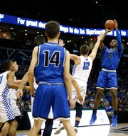 Sophomore Aminu Mohammed led the Greenwood Blue Jays to the Class 2 state championship in March.