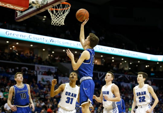 Greenwood Blue Jay John Sharp carries the ball up for a field goal during the Class 2 state championship game against the Oran Eagles at JQH Arena on Saturday, March 9, 2019.