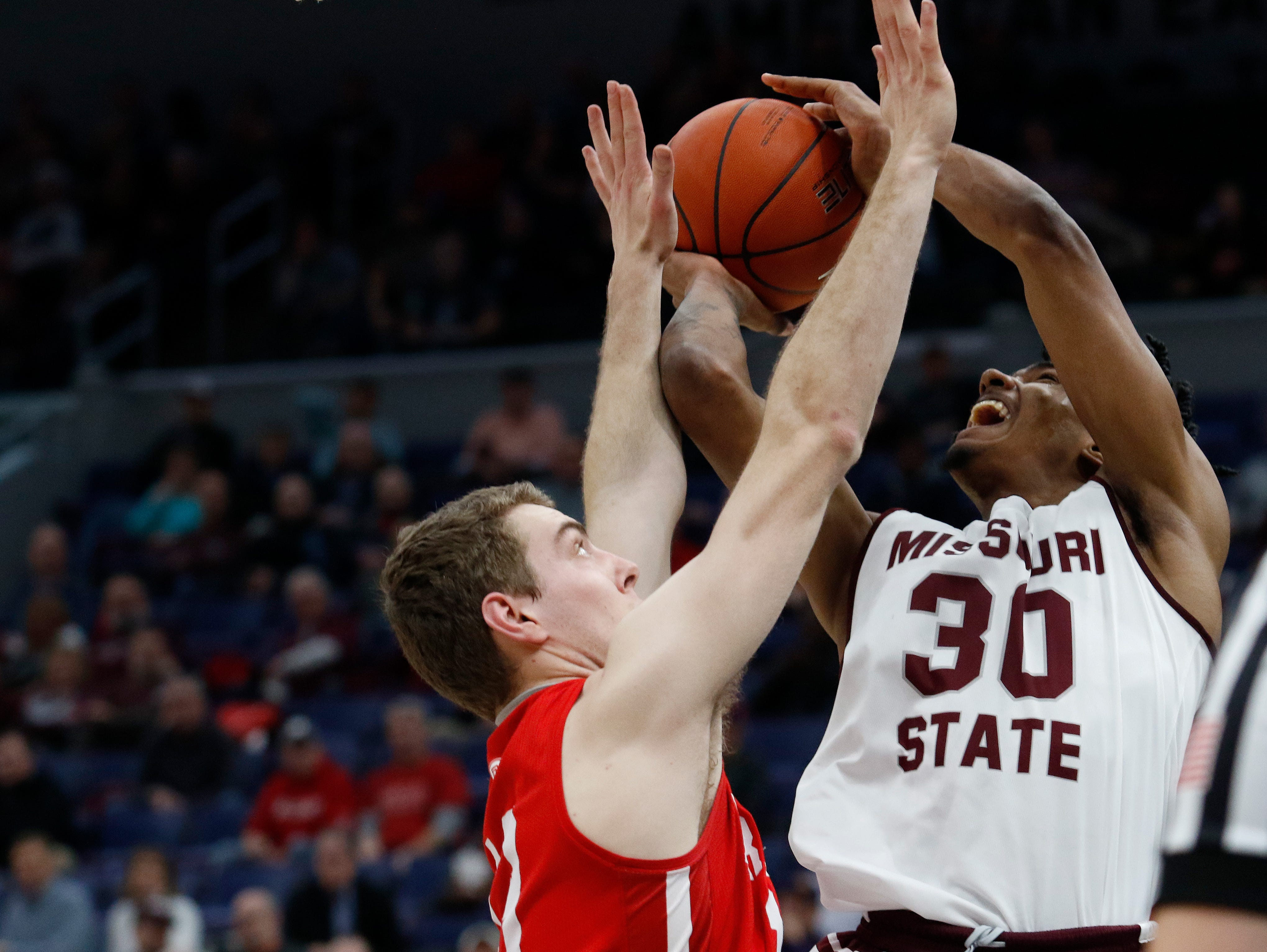 MVC Tournament action of Missouri State v. Bradley, Friday, March 8, 2019, at the Enterprise Center in St. Louis.