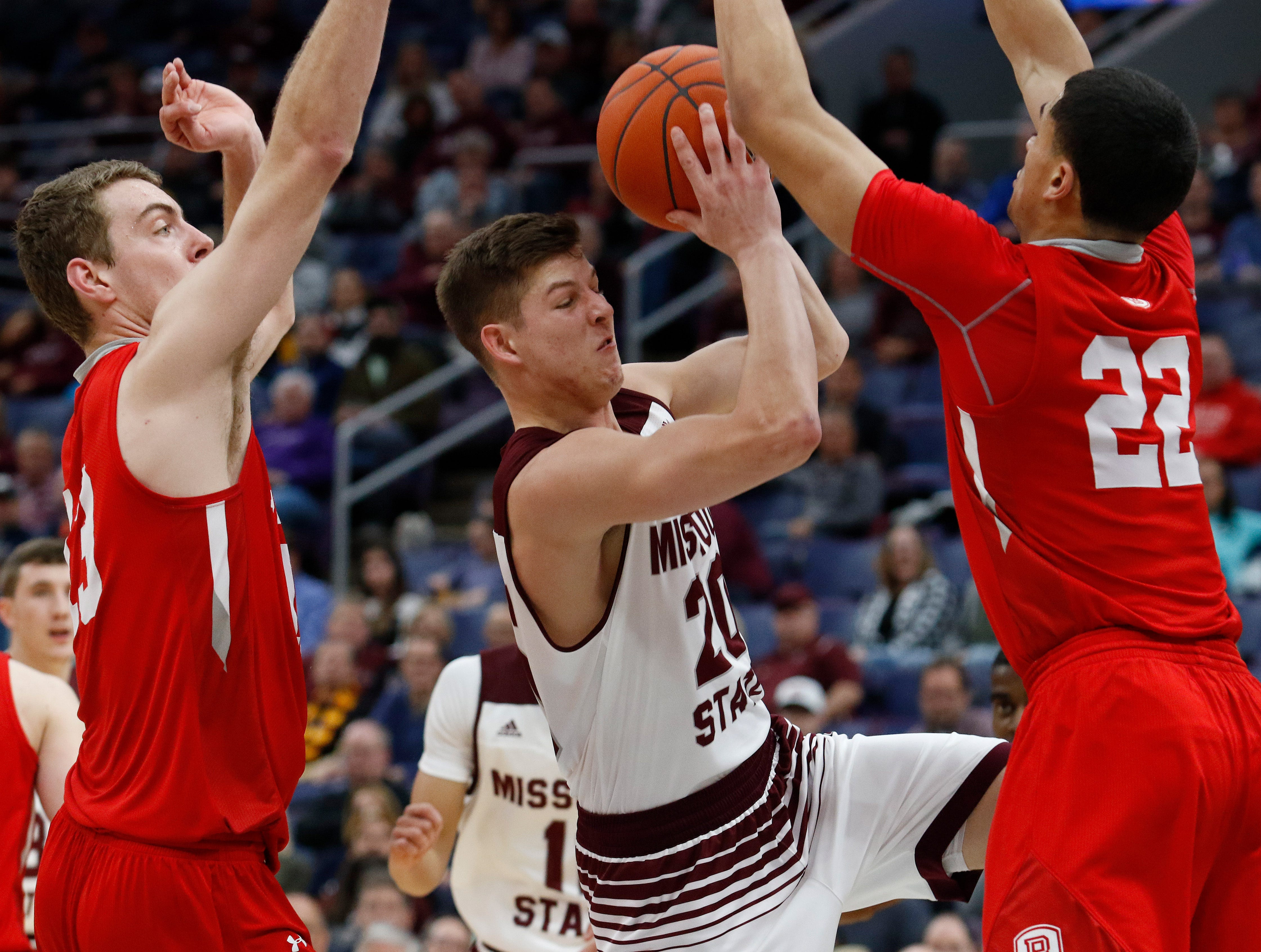 MVC Tournament action of Missouri State v. Bradley, Friday, March 8, 2019, at the Enterprise Center in St. Louis. Michael Gulledge/For the News-Leader