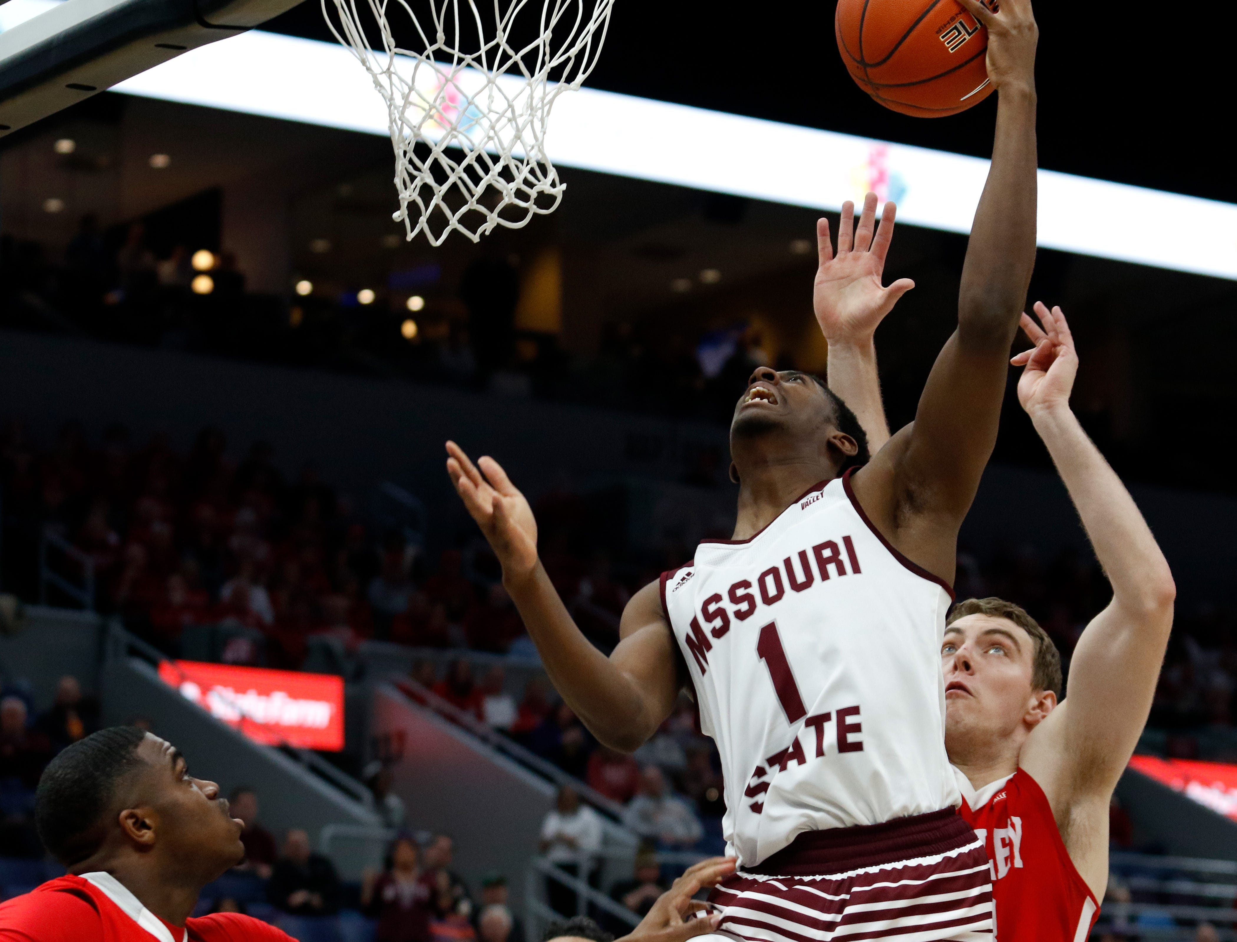 Missouri State's Keandre Cook (1) puts up a shot against Bradley, Friday, March 8, 2019, at the Enterprise Center in St. Louis.