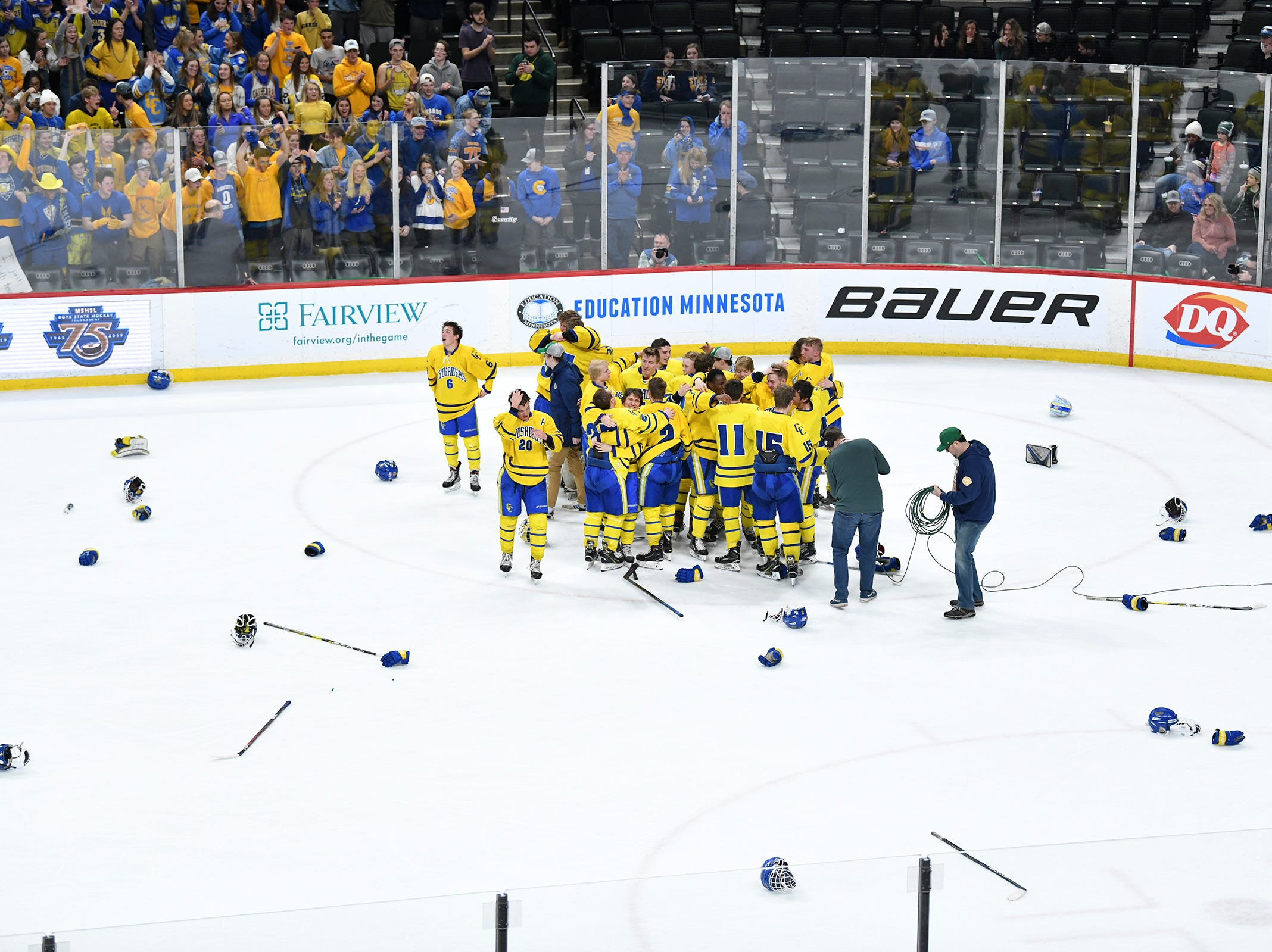 Cathedral players celebrate their win following the state Class A championship game Saturday, March 9, 2019, at the Xcel Energy Center in St. Cloud.