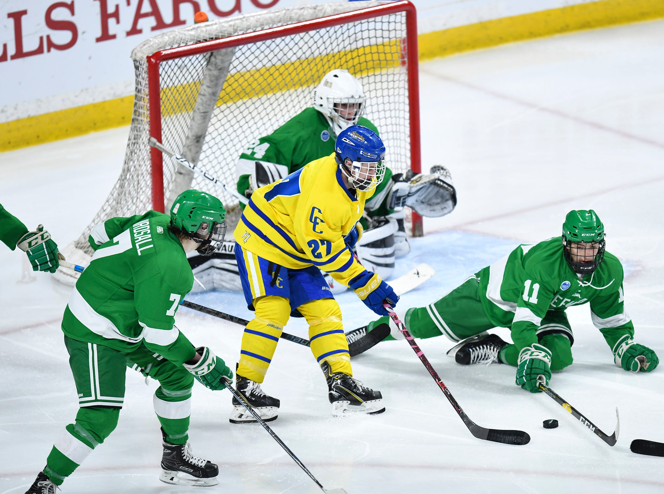 Cathedral's Blake Perbix works with the puck in front of the Greenway goal during the state Class A championship game Saturday, March 9, 2019, at the Xcel Energy Center in St. Paul.