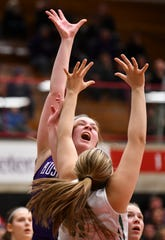 Albany's Madi Herkenhoff puts up a shot in the first half during the Section 6-2A championship game against Pine City Friday, March 8, at Halenbeck Hall in St. Cloud.