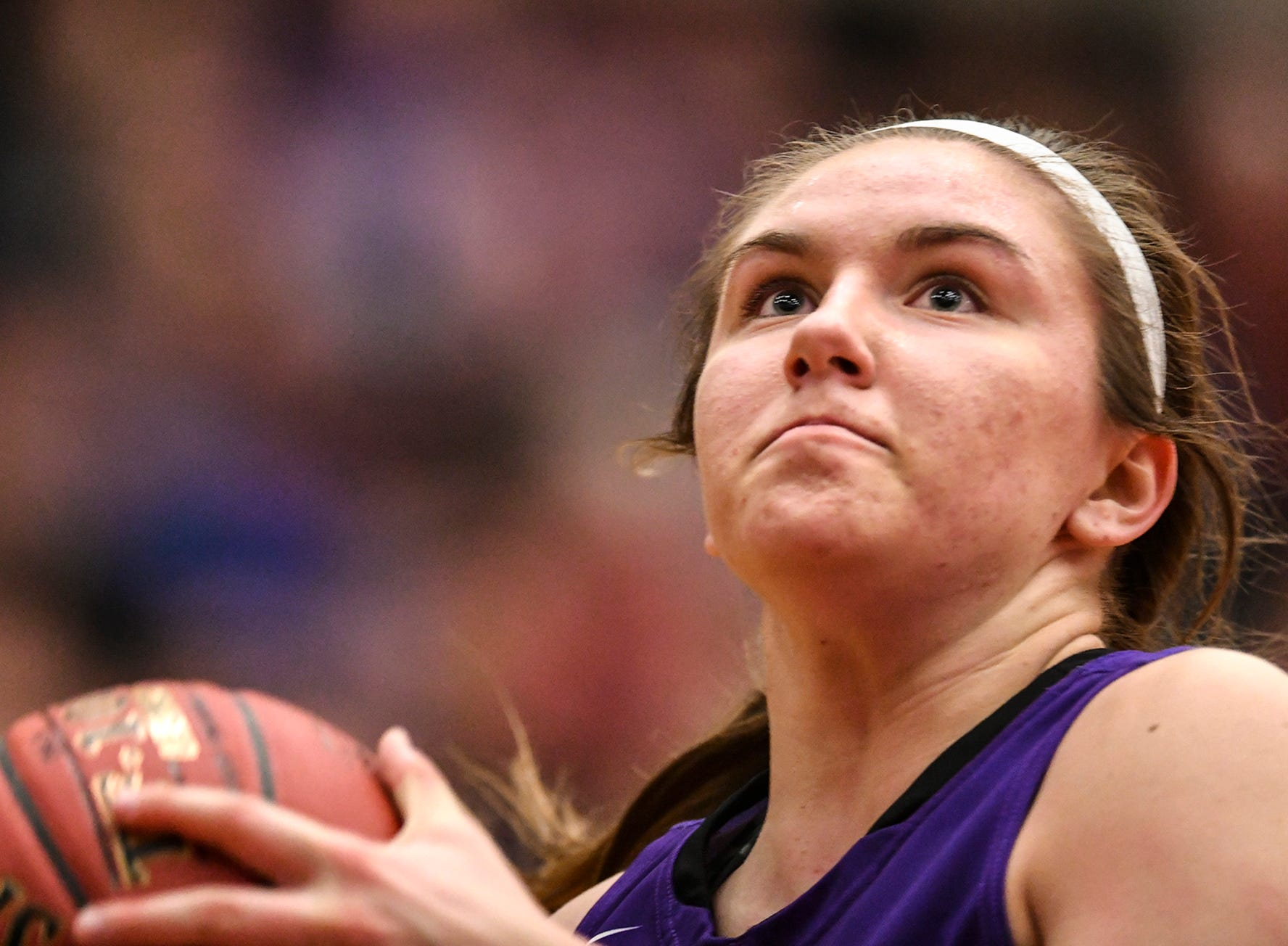 Albany's Paige Meyer concentrates on the hoop during the Section 6-2A championship game against Pine City Friday, March 8, at Halenbeck Hall in St. Cloud.