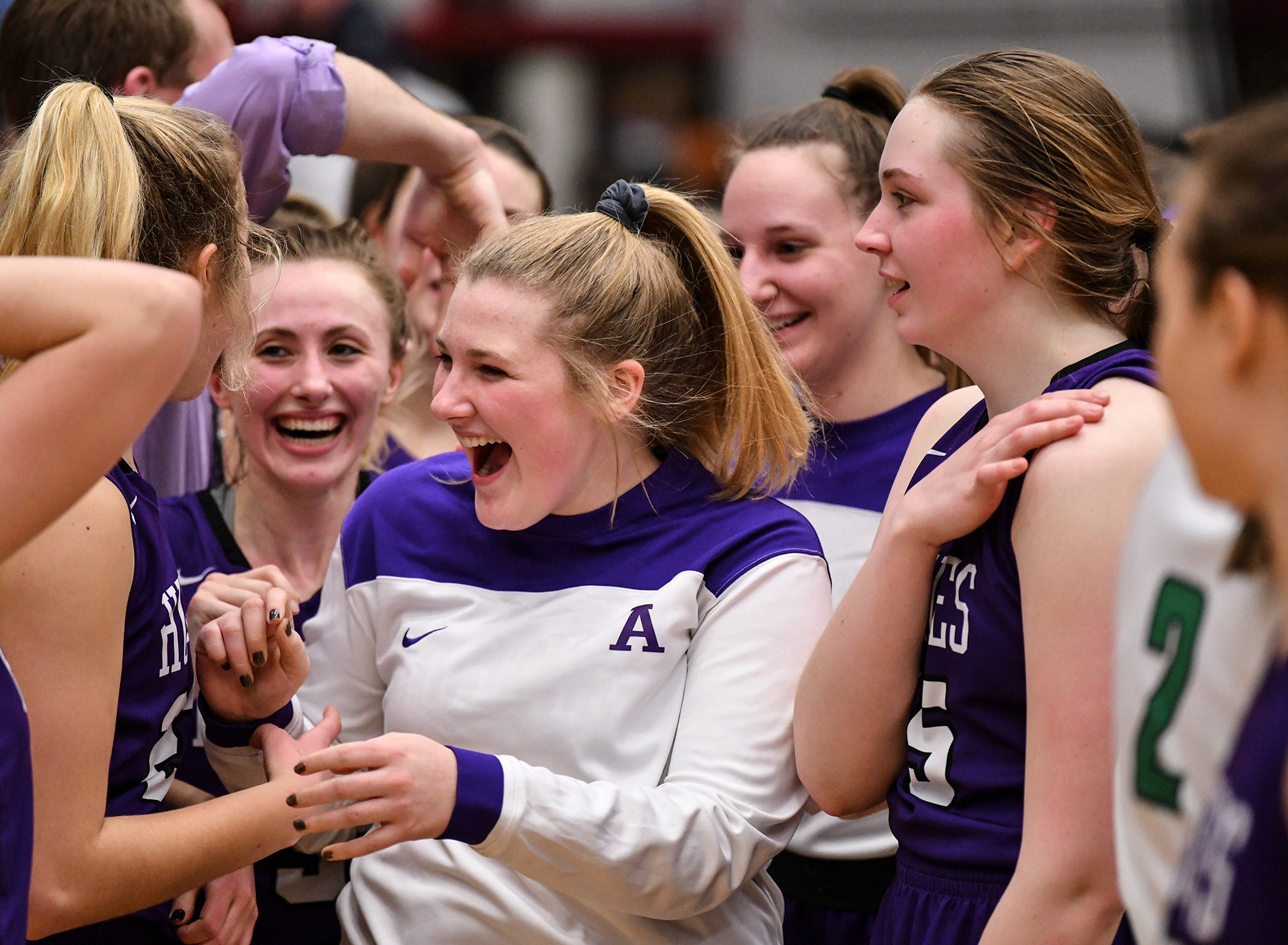 Albany players react following the Section 6-2A championship game against Pine City Friday, March 8, at Halenbeck Hall in St. Cloud. Albany won 60-29.
