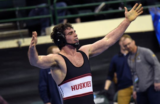 St. Cloud State's Vince Dietz reacts at the 2019 NCAA Division II championships Saturday in Cleveland, Ohio.