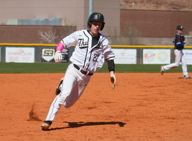 Chandler Reber runs the bases during a Desert Hills game earlier this month. On Saturday, Reber stole two bases for the Thunder.
