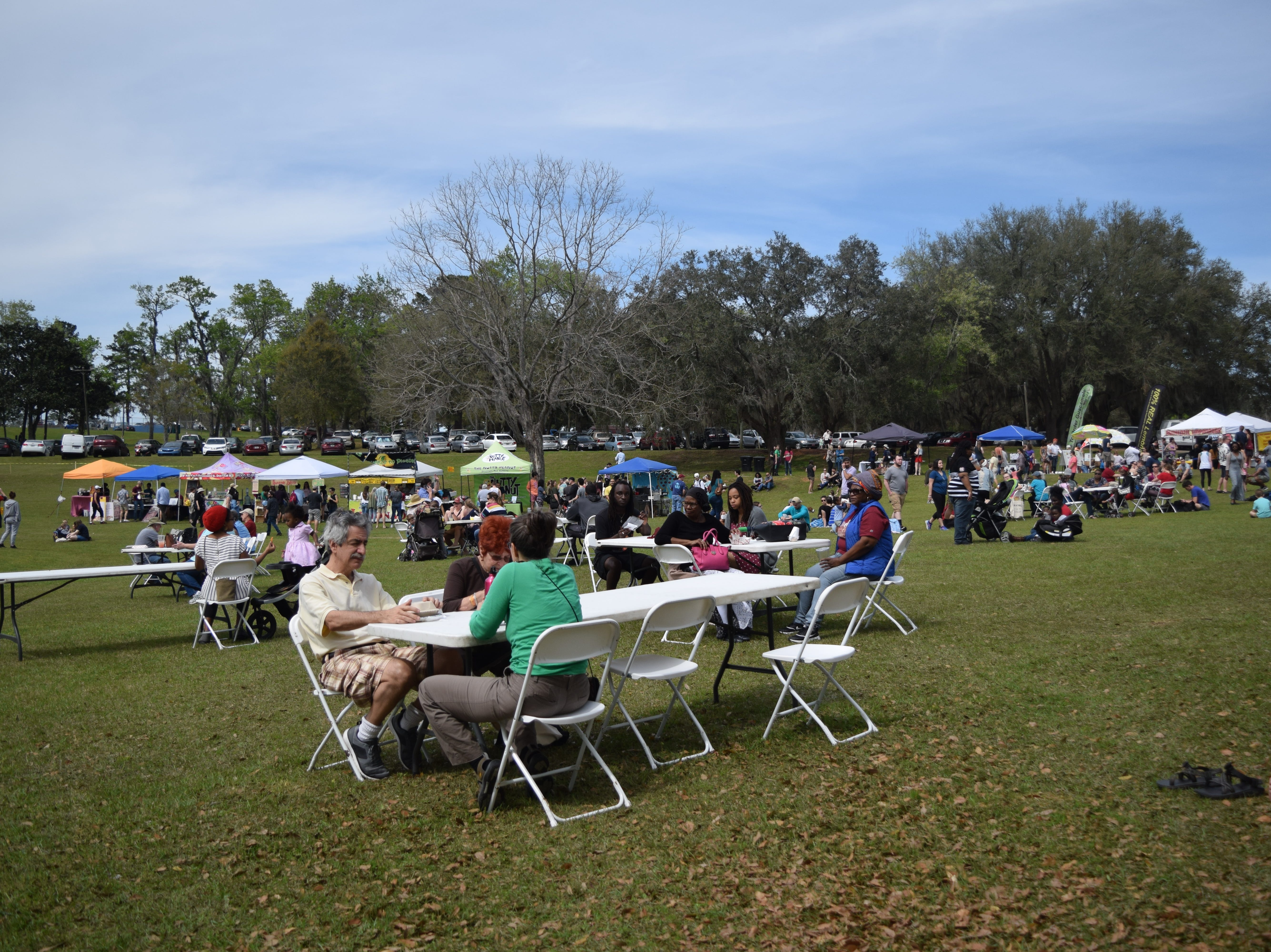 Attendees of the 5th annual North Florida VegFest eat vegeterian and vegan meals.