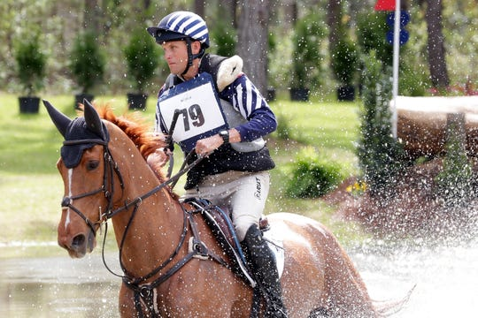 Boyd Martin (79) rides Kyra through the advanced course. Riders compete in the cross country event at the Red Hills International Horse Trials Saturday, March 9, 2019.
