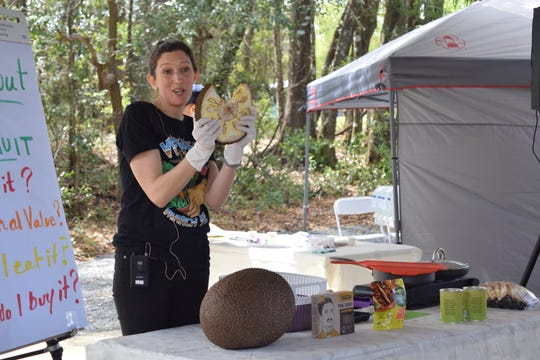 Jessica Jameson gives a cooking demonstration on jackfruit on Saturday at the 5th annual North Florida VegFest.