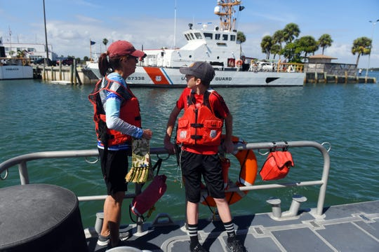 About 40 boats participated in the 2nd annual Fort Pierce Blessing of the Fleet on Saturday, March 9, 2019 near the Fort Pierce Inlet. Rev. Mary Rosendahl, recently retired from the Episcopal Church of the Nativity, stood on the bow of a U.S. Coast Guard Response Boat Medium offering the blessings as boats passed by.