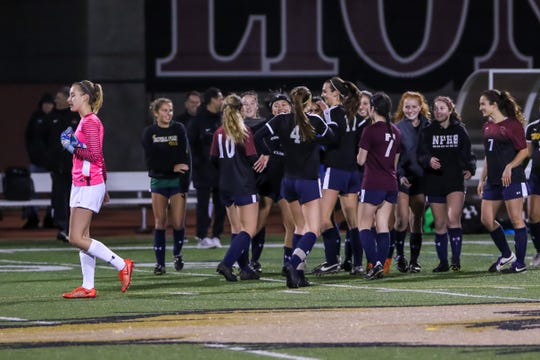 Ventura County celebrates on Friday night after winning the Ventura County versus Los Angeles County Senior Girls Soccer All-Star game 1-0 at Oaks Christian's Thorson Stadium.