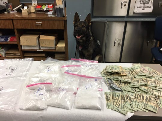 Ventura police seized more than 6 pounds of methamphetamine during a traffic stop Saturday when Jag, a police dog, alerted to the possible presence of contraband.