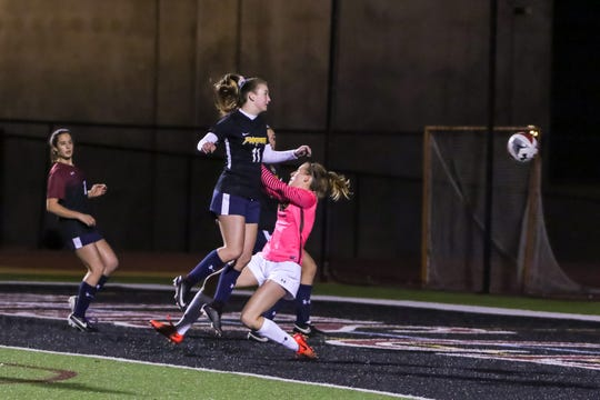 Newbury Park's Kaitlyn McKeown scores the lone goal in Friday night's Ventura County versus Los Angeles County Senior Girls Soccer All-Star game at Oaks Christian's Thorson Stadium. Ventura County won, 1-0.