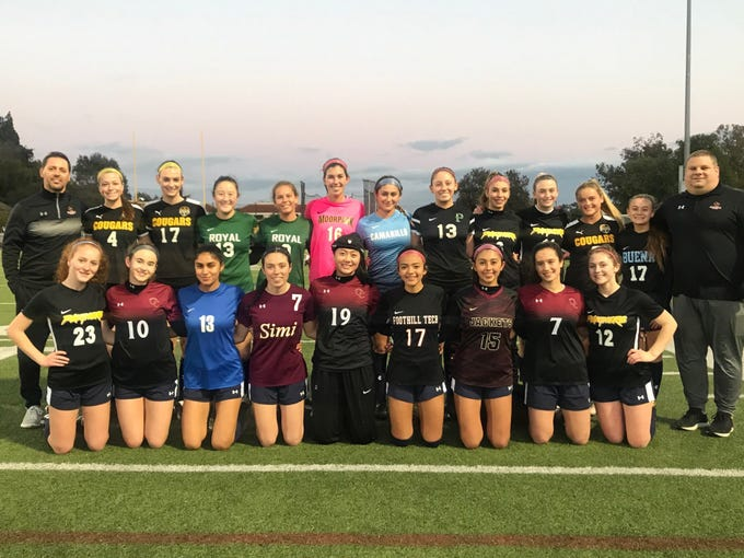 The Ventura County All-Stars pose before Friday night's Ventura County against Los Angeles County Senior Girls Soccer All-Star game at Oaks Christian's Thorson Stadium. Ventura County won, 1-0.