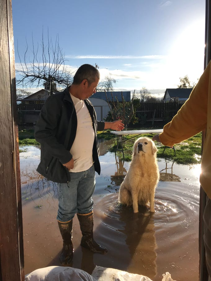 Jose Lara and Mr. Pickles work to drain the Lara's family home in Strathmore.