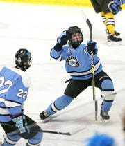 Suffern's Tommy McCarren celebrates his second period goal against Canton.