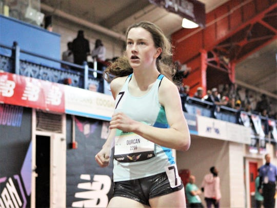 Ciara Durcan of Pearl River en route to winning 2019 New Balance Indoor Nationals silver medal in the girls mile racewalk.
