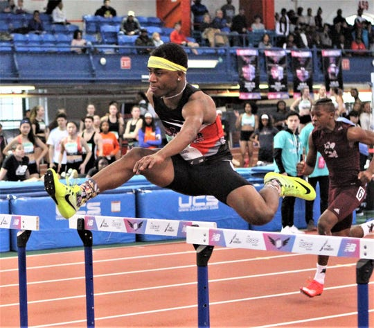 North Rockland's Leevinski Leonard competes in the shuttle hurdles relay at the 2019 New Balance Indoor Nationals.