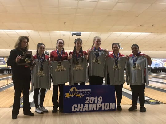 North Rockland girls bowlers pose after winning the first state championship in program history. Mar. 8, 2019.
