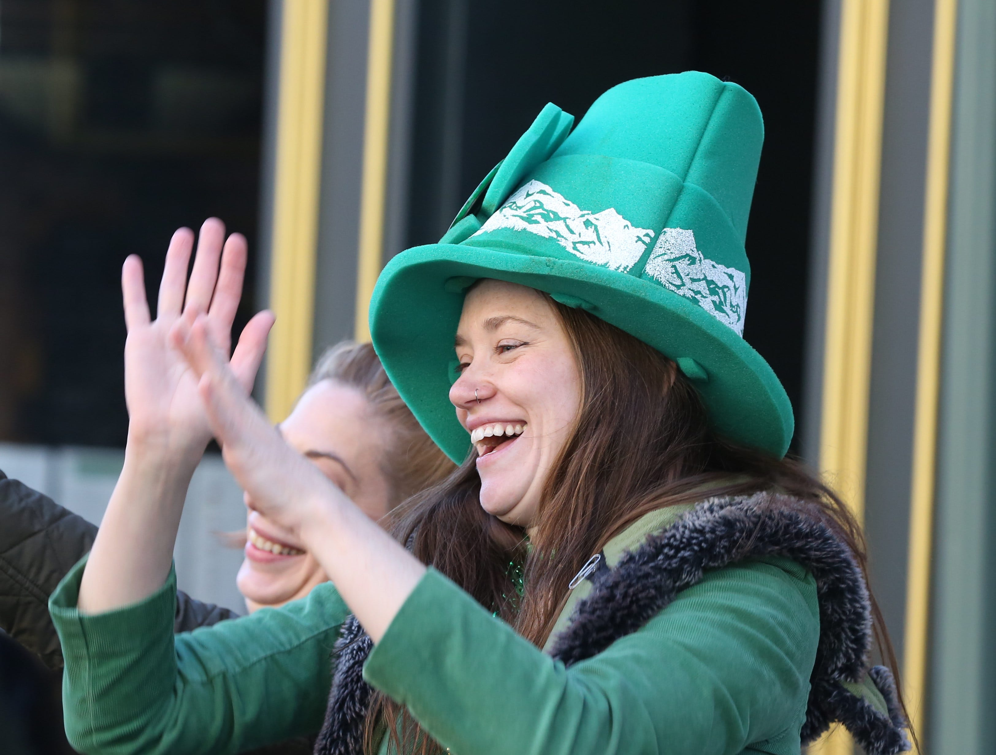 Nora Driscoll celebrates during the 30th Annual Peekskill St. PatrickÕs Day Parade in Peekskill March 9, 2019.