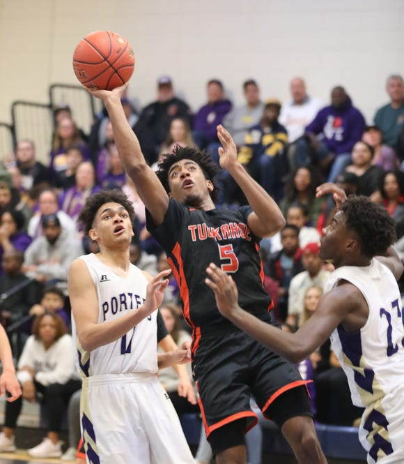 Tuckahoe's Malik Moore goes up for a shot during the Class C state regional final basketball game between Tuckahoe and Greenport at Centereach High School, March 9, 2019.