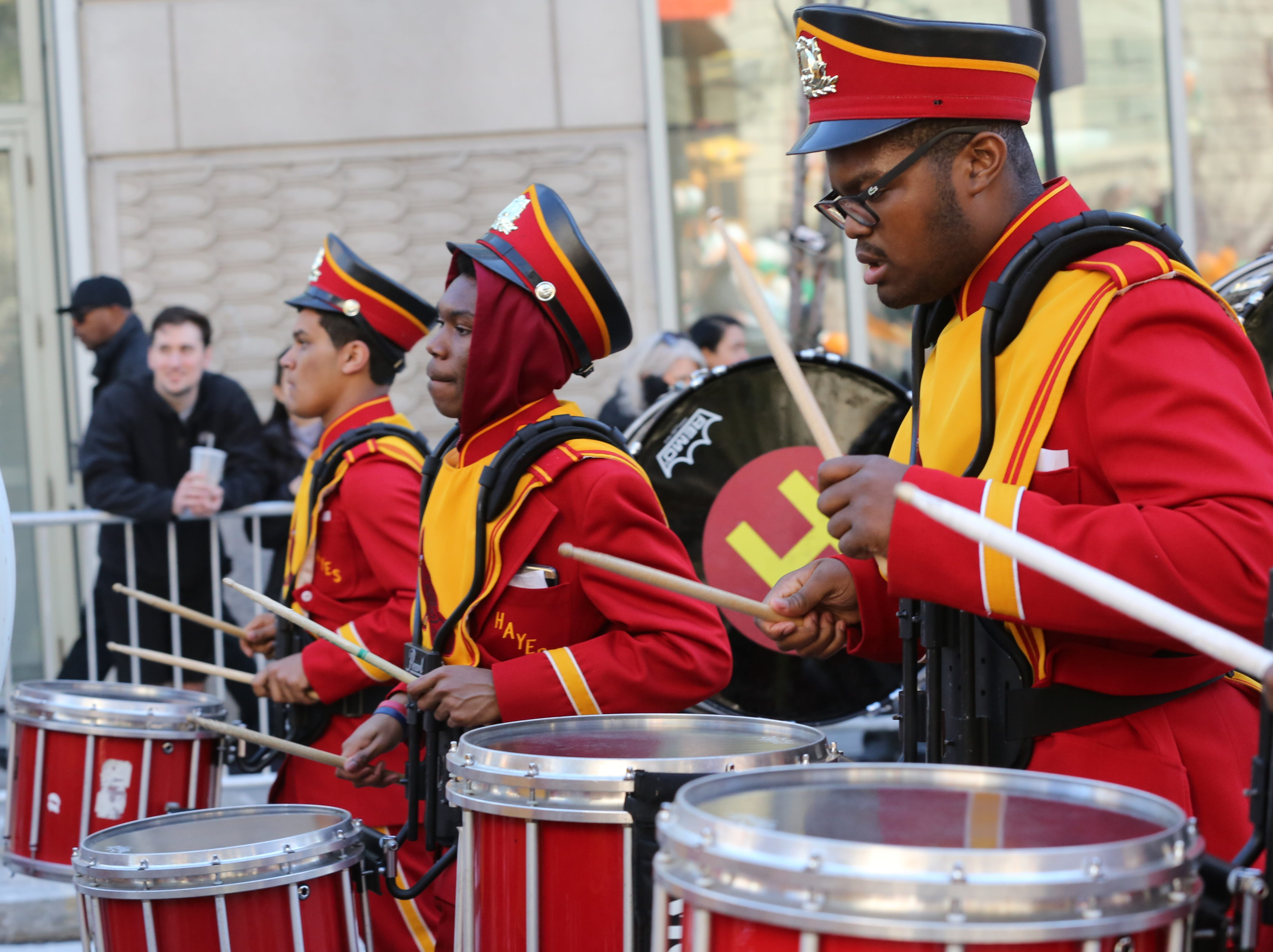 Cardinal Hayes High School marching band performs during the 2019  White Plains St. Patrick's Day parade. The band will march in the NYC parade on March 16, 2019.