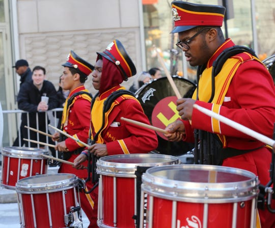 Cardinal Hayes High School marching band performs during the 22nd annual White Plains St. Patrick's Day parade along Mamaroneck Avenue in White Plains March 9, 2019. The band will be marching in the NYC St. Patrick's Day Parade on March 16.