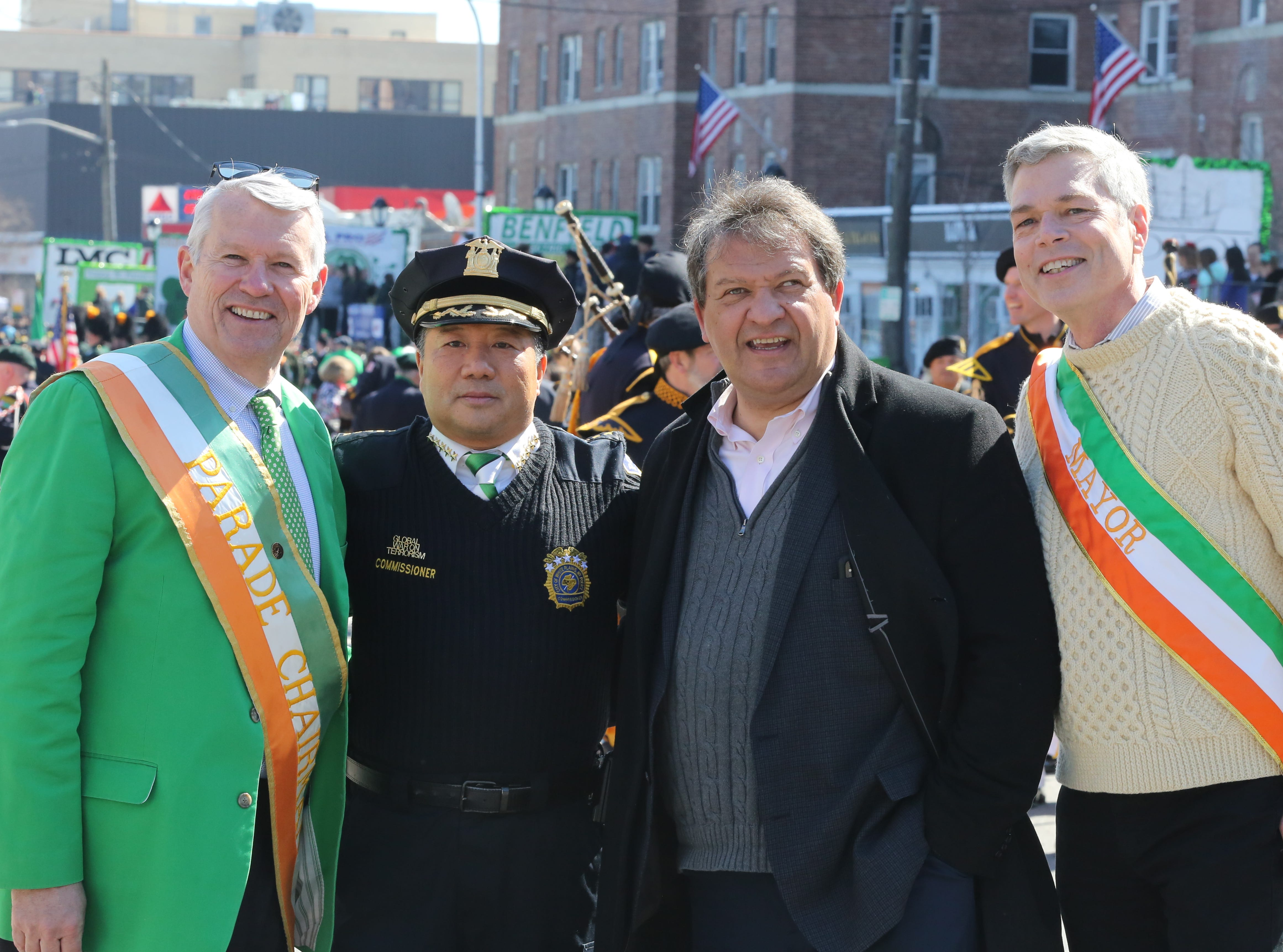 From left, Parade Chair John Martin, White Plains Police Commissioner David Chong, Westchester County Executive George Latimer, and White Plains Mayor Thomas Roach pose for a photo before the start of the 22nd annual White Plains St. Patrick's Day parade along Mamaroneck Avenue in White Plains March 9, 2019.