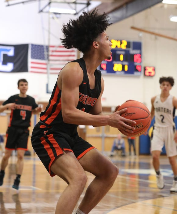 Tuckahoe's Ivan Hernandez prepares a shot during the Class C state regional final basketball game between Tuckahoe and Greenport at Centereach High School, March 9, 2019.