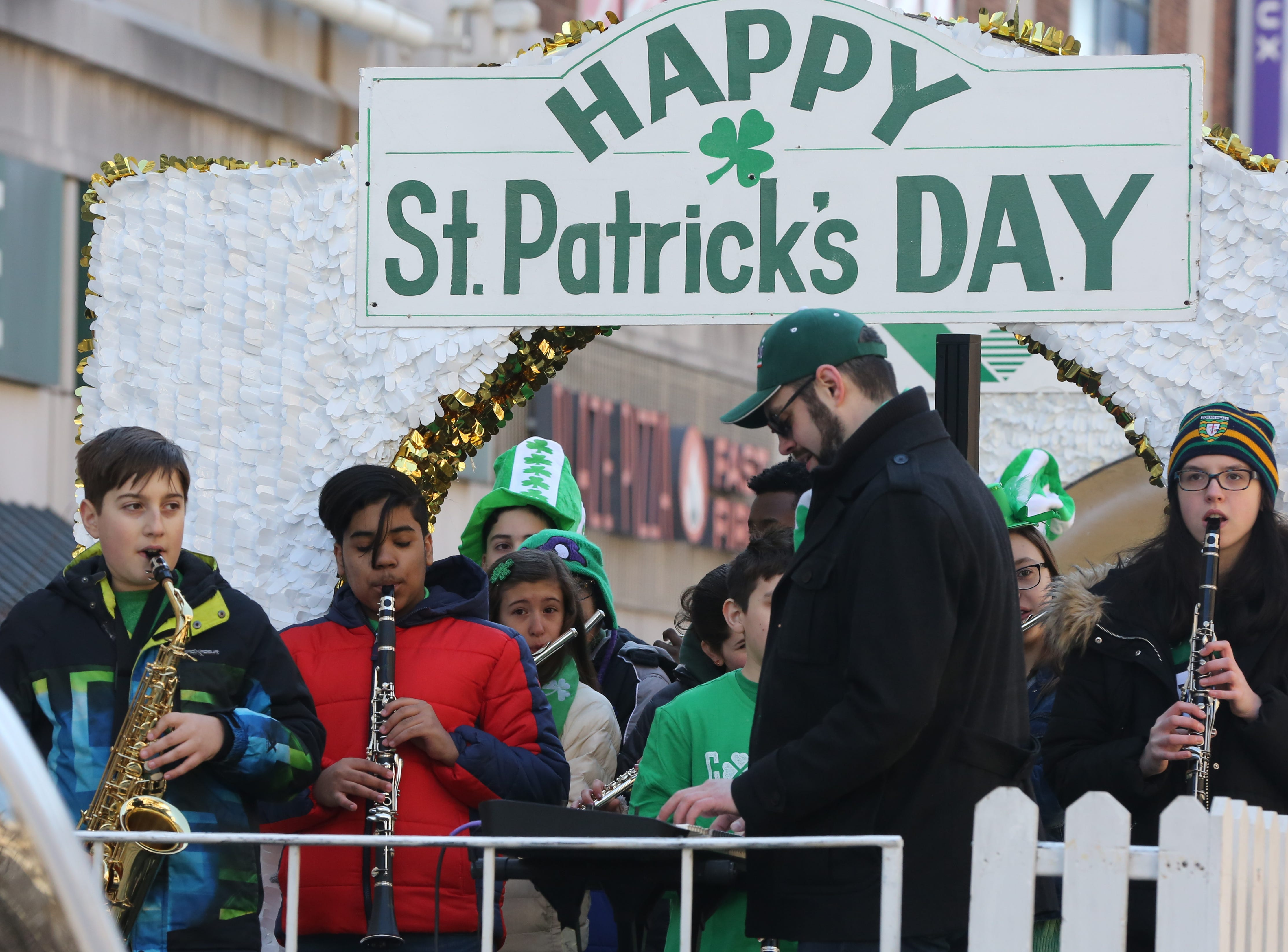 White Plains Middle School jazz band performs during the 22nd annual White Plains St. Patrick's Day parade along Mamaroneck Avenue in White Plains March 9, 2019.