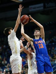 Slidell junior Slayton Pruett goes up for a shot during the Class A title game Saturday in the Alamodome.