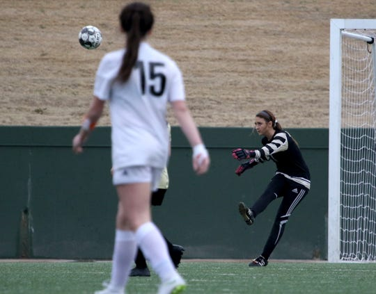 Rider goalie Marissa Lifland takes a goal kick in the match against Aledo Friday, March 8, 2019, at Memorial Stadium.