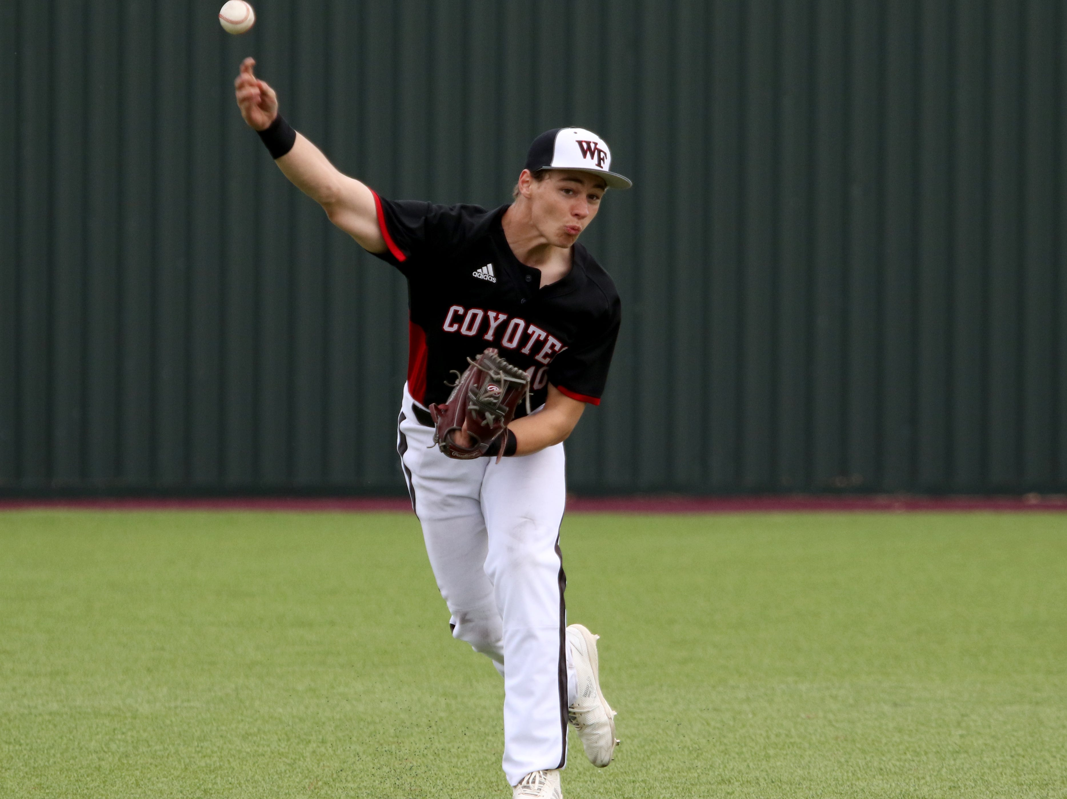 Wichita Falls High School's Zane Leonard throws to first in the game against Holliday Friday, March 8, 2019, in Bowie for the Walker Stallcup Tournament.
