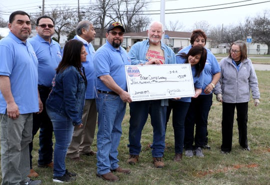 The Mexican American Veteran's Assocation donate $500 during a camp out to raise awareness for homeless veterans Friday, March 8, 2019, at Base Camp Lindsey located at 1909 Old Windthorst Rd.