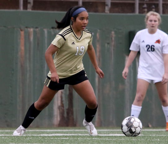 Freshman Ruth Vasquez leads the Rider girls soccer team with nine goals on the season.