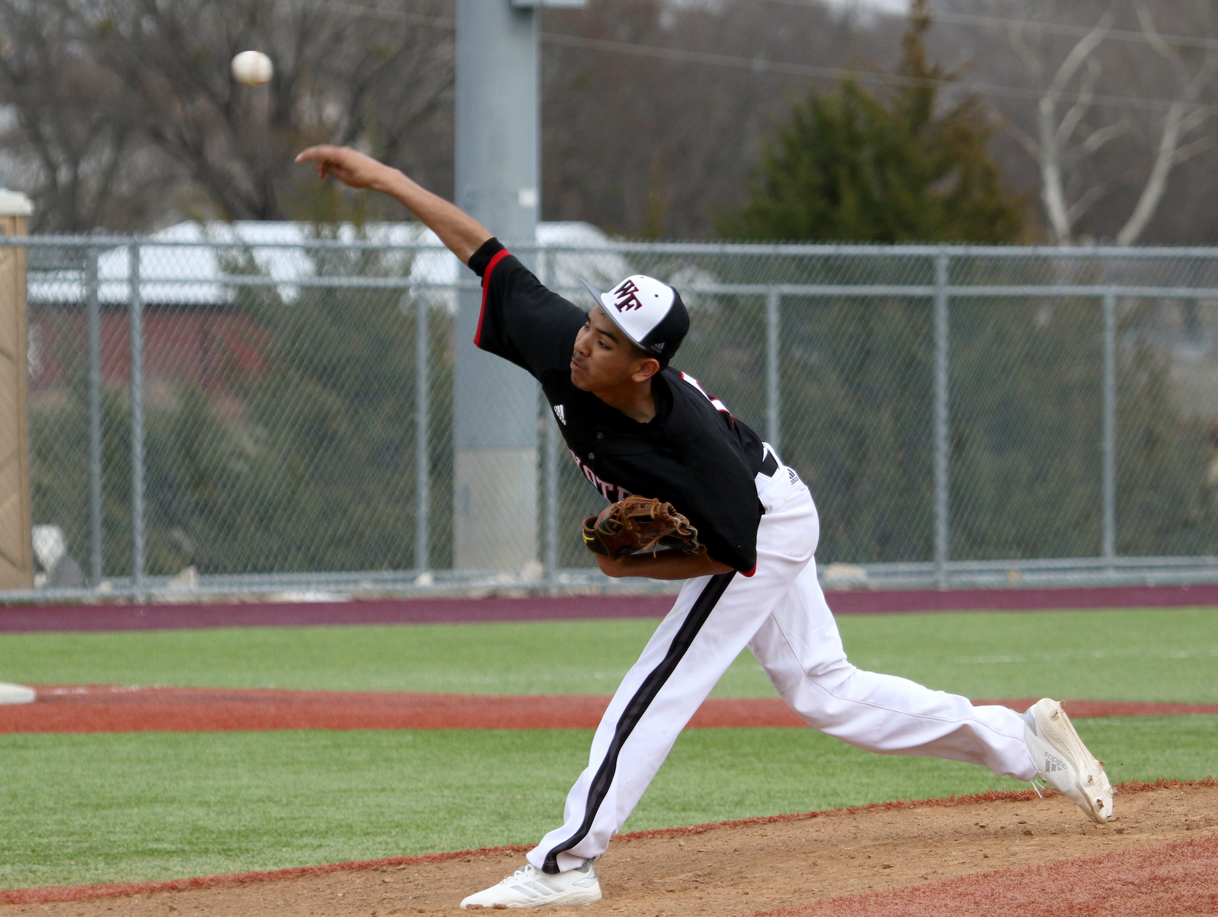 Wichita Falls High School's Francisco Maldanado pitches against Holliday Friday, March 8, 2019, in Bowie for the Walker Stallcup Tournament.