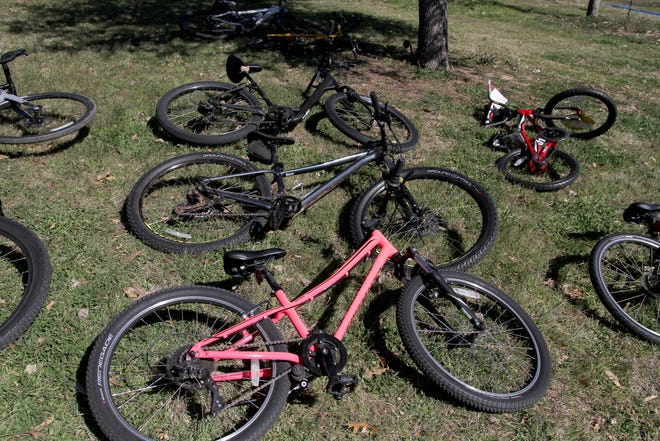 In this 2019 photo, bikes are lined up at the Bike and Seek Saturday event that was hosted by Bike Wichita Falls at Lake Wichita to promote safe bike riding.