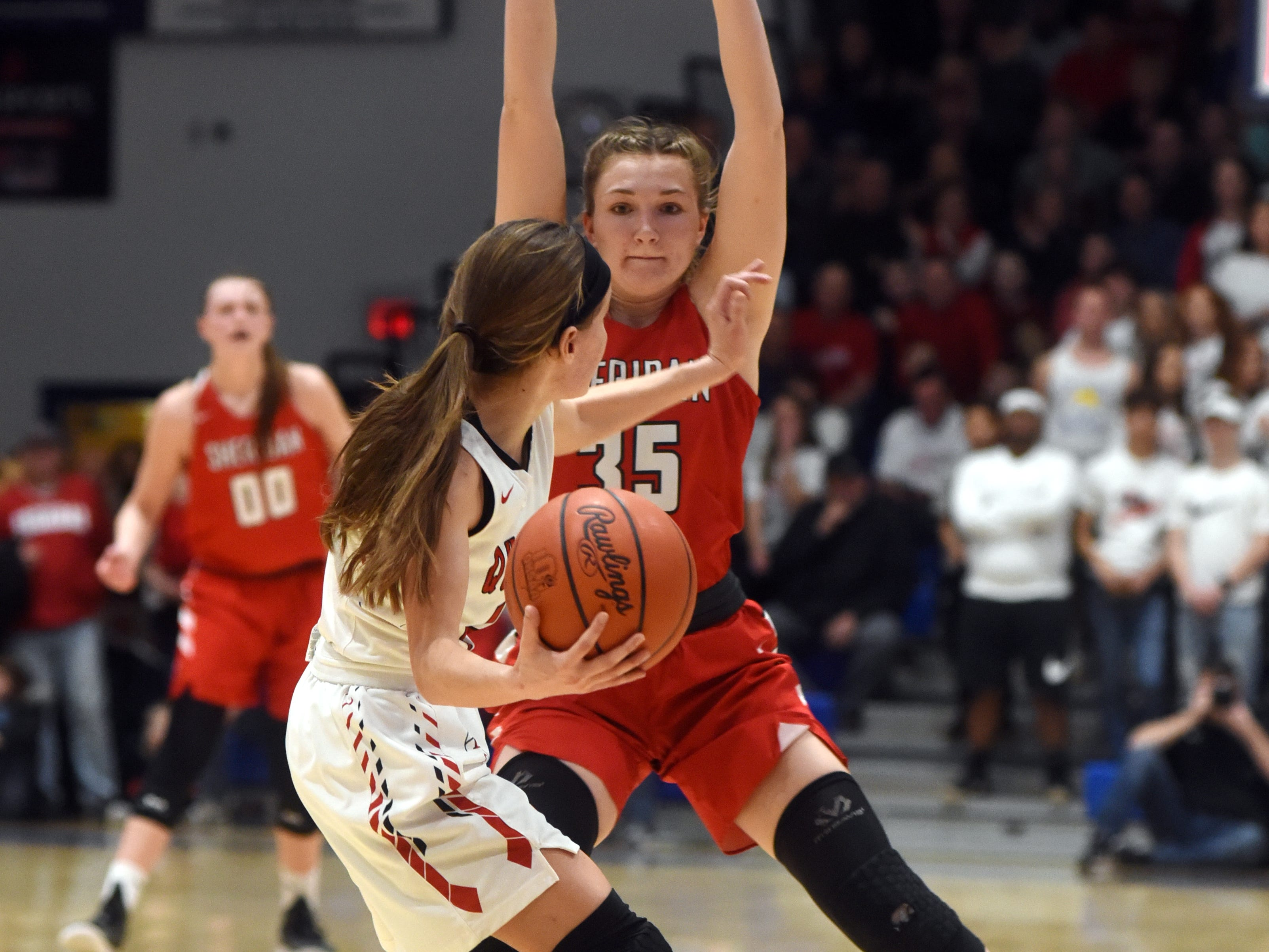 Sheridan's Jenna Montgomery plays defense against New Philadelphia. Sheridan reached its first state tournament since 2004 with a 48-46 win on Friday night at Winland Memorial Gymnasium.
