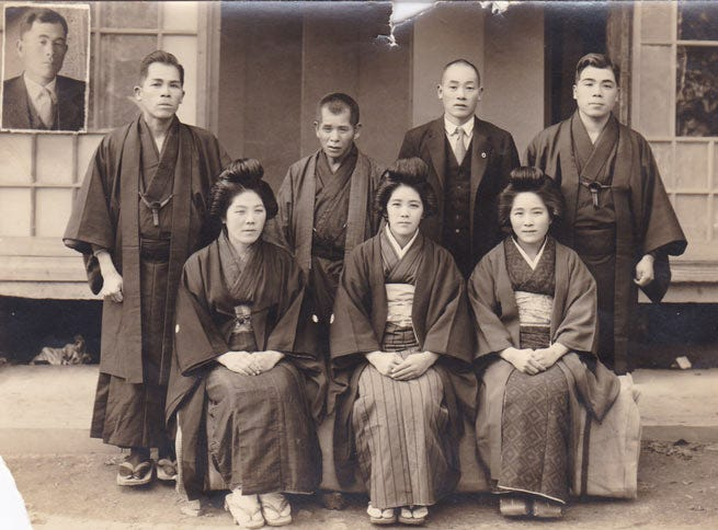 Kane Tanaka, front row, center, with her brothers and sisters.