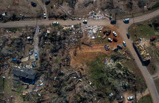 Parts of Alabama, where a tornado killed 23 people around the town of Beauregard, were bracing for another round of severe thunderstorms on March 9, 2019, that were expected to move from northeast Texas to southern Indiana.