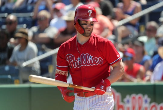 Bryce Harper walked twice in his spring training debut with the Phillies.