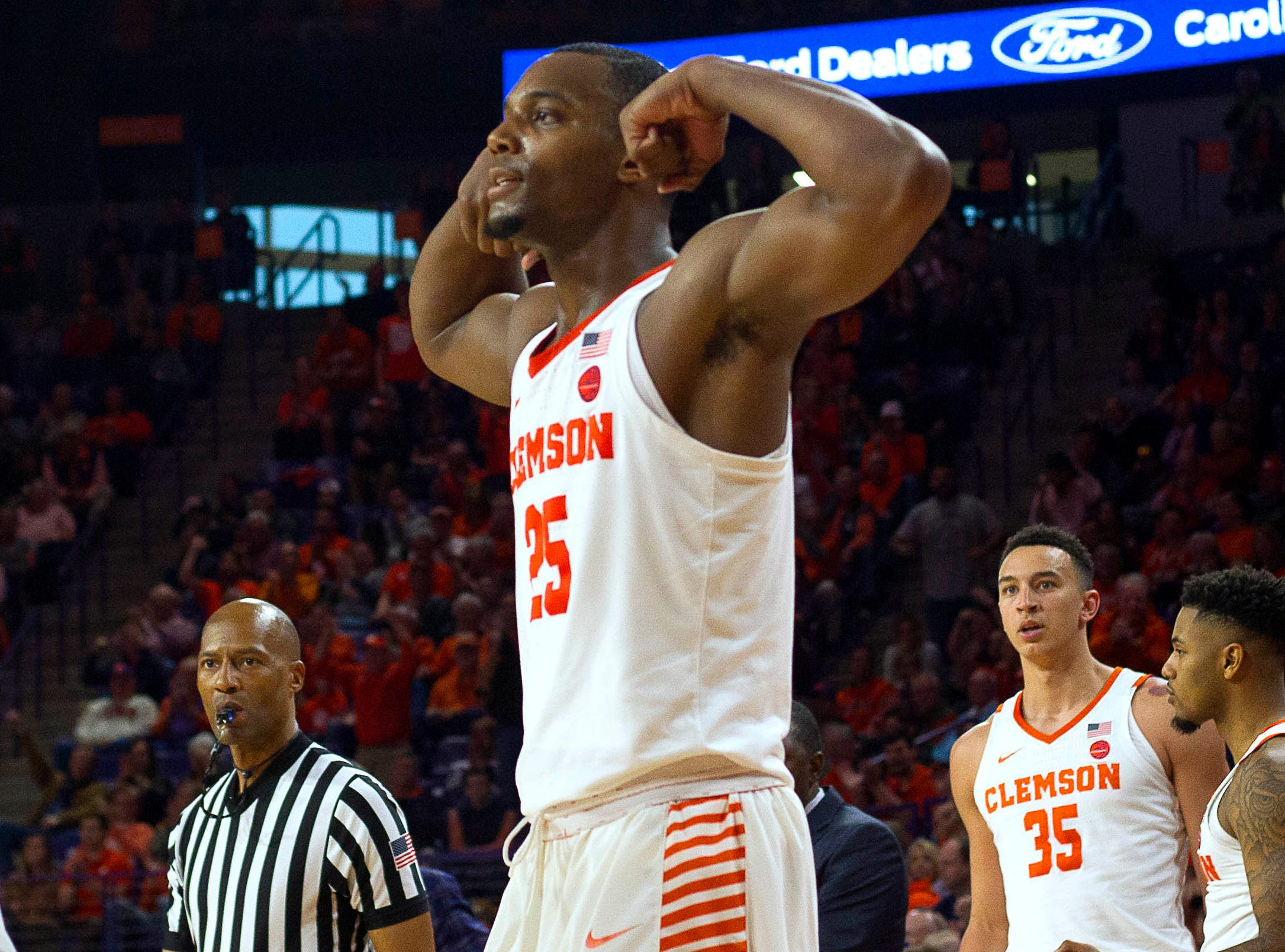 Clemson forward Elijah Thomas celebrates a big second-half bucket.