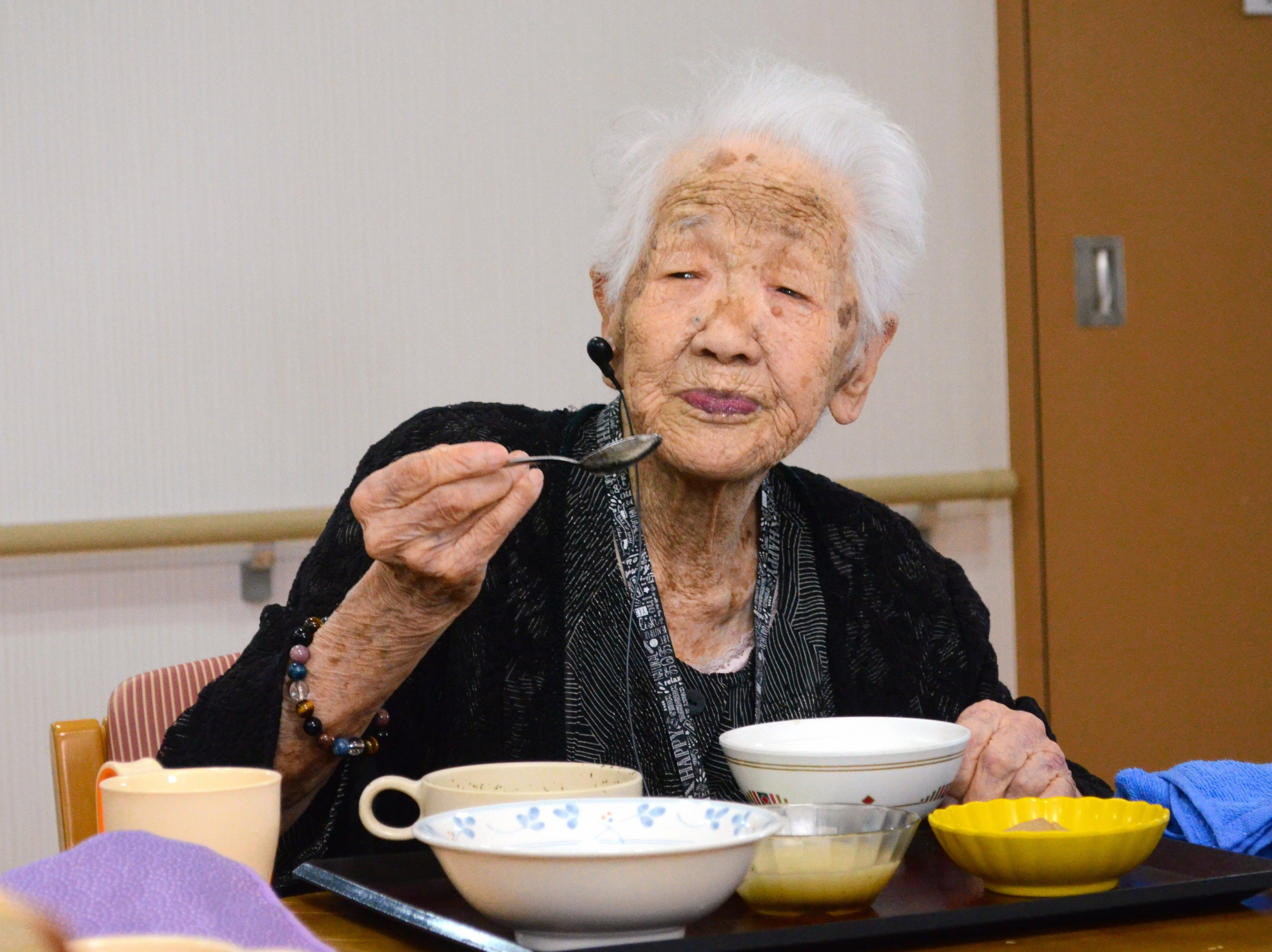 Japan's oldest person Kane Tanaka, 115, has lunch at a nursing home on July 27, 2018 in Fukuoka, Japan. World's oldest person Chiyo Miyako, 117, died on July 21, makes Tanaka becomes Japan's oldest person.