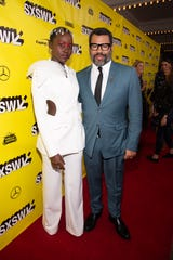 "Lupita Nyong'o and Jordan Peele at the ""Us"" premiere at SXSW on Friday."