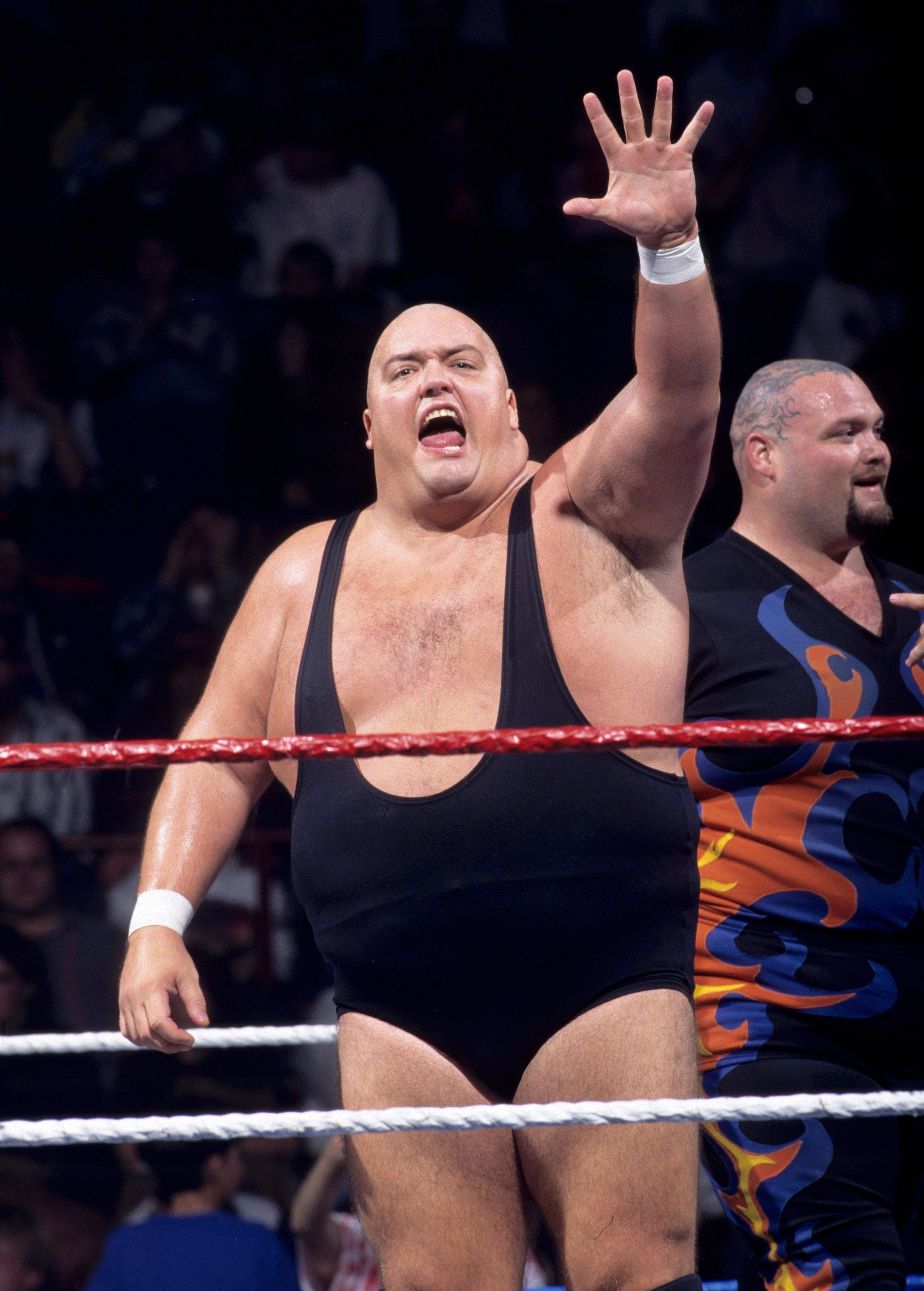 This image provided by the WWE shows professional wrestler King Kong Bundy. Promoter and longtime friend David Herro says Bundy, whose real name was Christopher Pallies, died on Monday, March 4, 2019. The 6-foot-4, 458-pound wrestler made his World Wrestling Federation debut in 1981 and was best known for facing Hulk Hogan in 1986 in a steel cage match at WrestleMania 2.