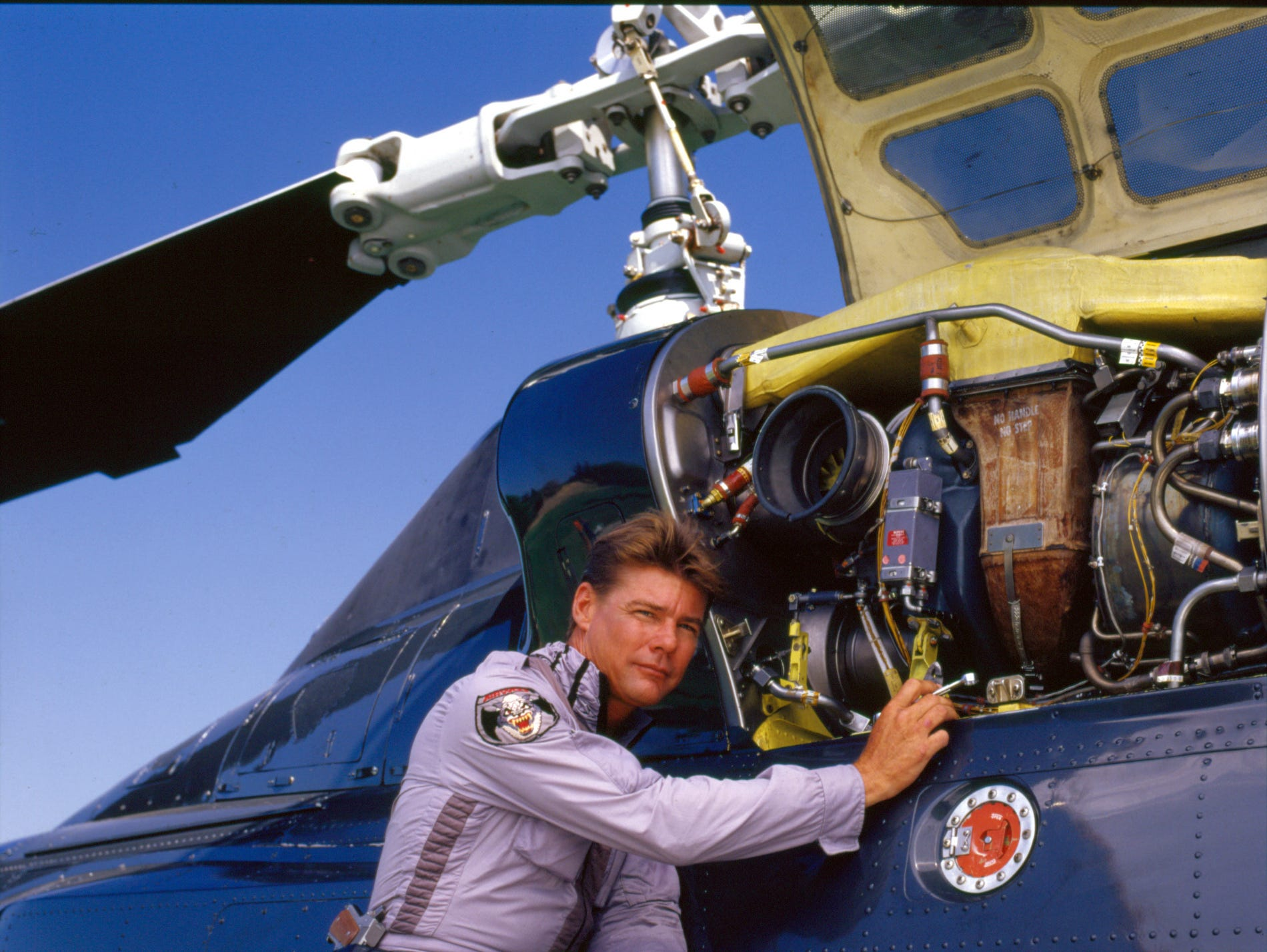 "Jan-Michael Vincent plays Stringfellow Hawke on Airwolf. Vincent, known for starring in the television series ""Airwolf,"" died Feb. 10, 2019. He was 73."