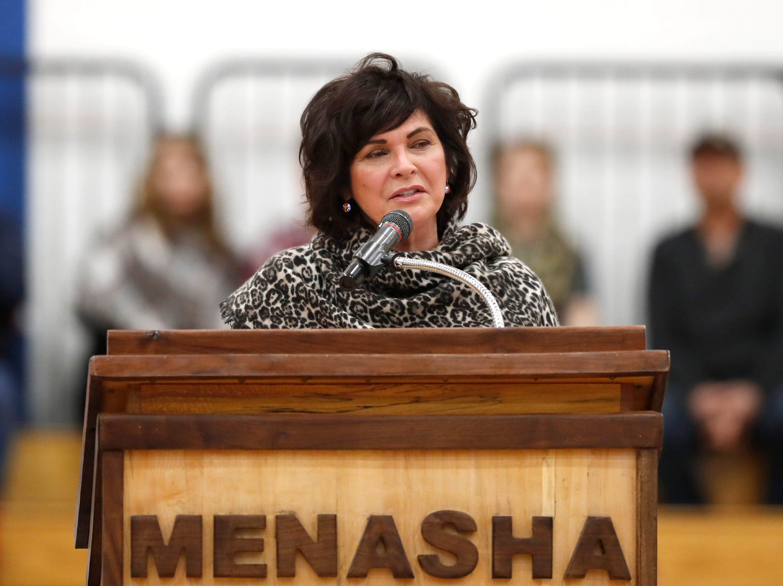Janine Sijan gives a speech during the Old Glory Honor Flight-Return to Nam welcome home Saturday, March 9, 2019, at Menasha High School in Menasha, Wis. Veterans were greeted by friends, family, the Menasha High School band, and the 484th Army Band.Danny Damiani/USA TODAY NETWORK-Wisconsin